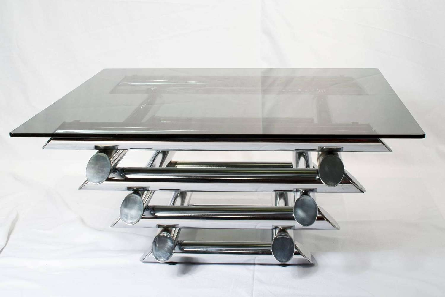 Most Popular Modern Chrome Coffee Tables Throughout Coffee Tables : Mid Century Modern French Chrome And Glass Two (View 13 of 20)