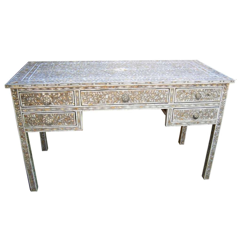 Most Popular Mother Of Pearl Coffee Tables Pertaining To Grey Mother Of Pearl Inlay Desk (View 9 of 20)