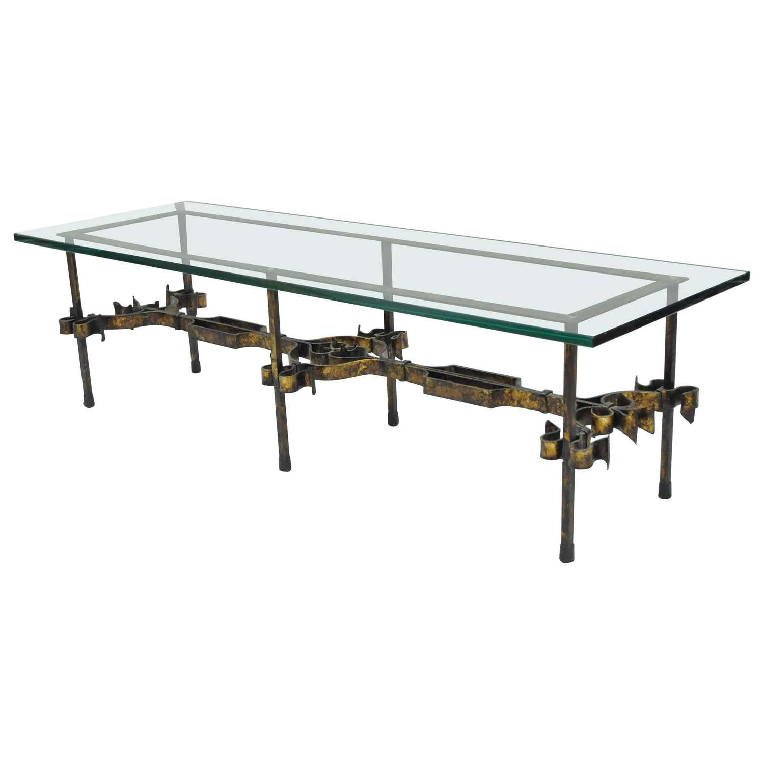 Most Popular Rectangle Glass Coffee Table In Ornate Hollywood Regency Gold Gilt Scrolling Iron Rectangular (View 9 of 20)
