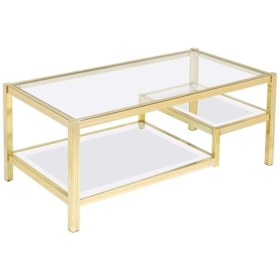 Most Popular Retro Glass Top Coffee Tables Inside Coffee Tables : French Mid Century Three Tier Brass Glass Top (View 6 of 20)