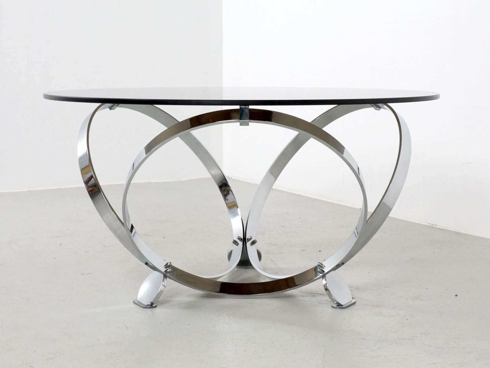 Most Popular Round Chrome Coffee Tables Within Round Chrome And Glass Coffee Table Remodel Ideas Circles Chrome (Gallery 1 of 20)