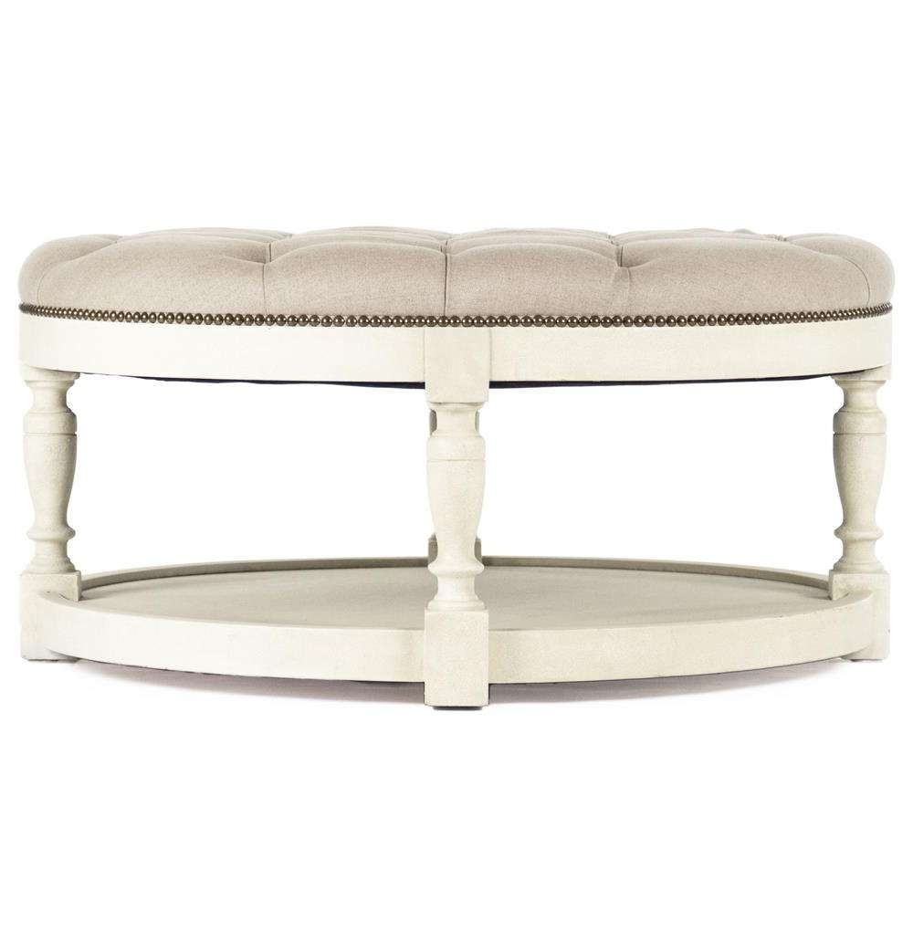 Most Popular Round Upholstered Coffee Tables Intended For Marseille French Country Cream Ivory Linen Round Tufted Coffee (View 14 of 20)