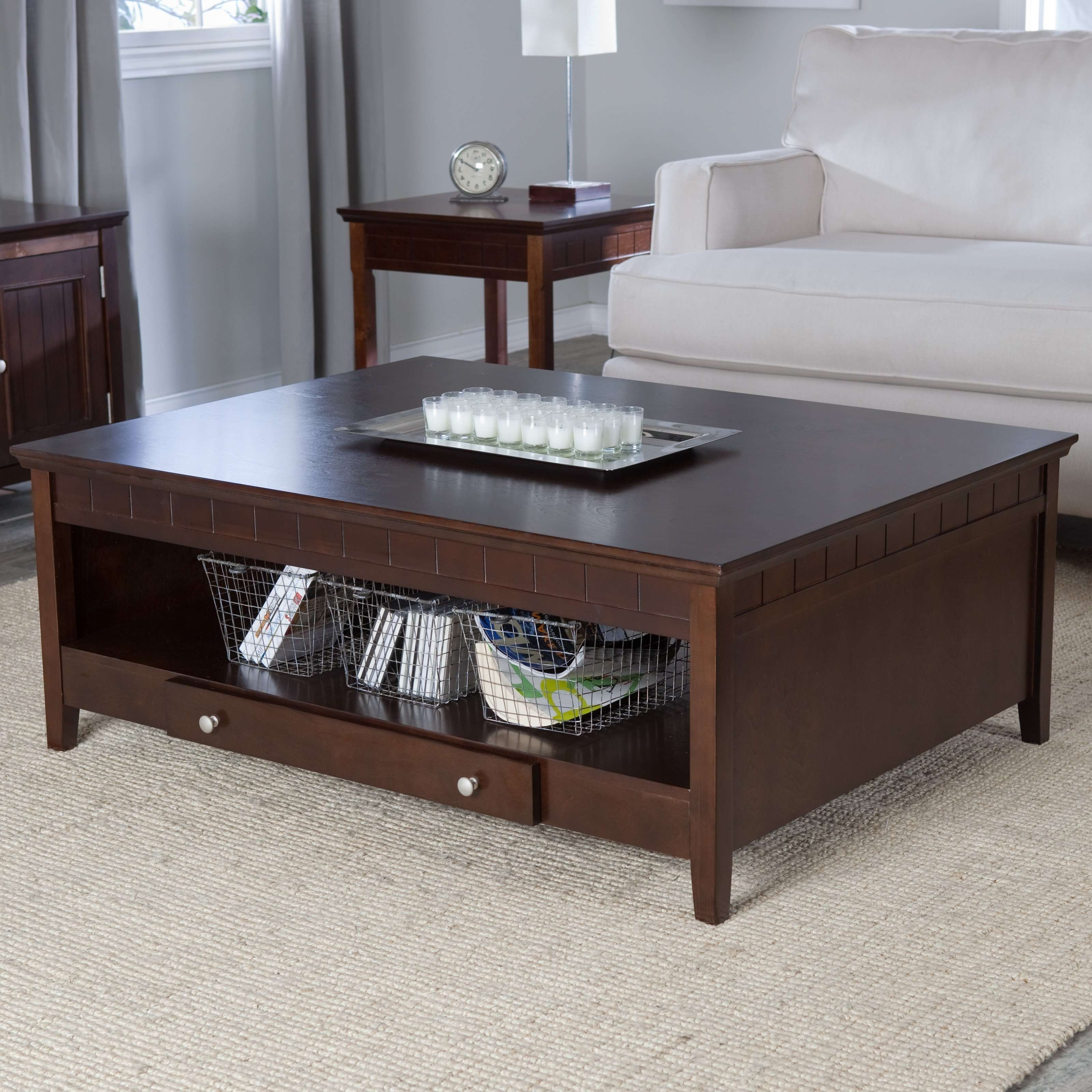 Most Popular Square Coffee Table With Storage Drawers Pertaining To Sofa Table With Storage Drawers Dark Wood Tables (View 9 of 20)