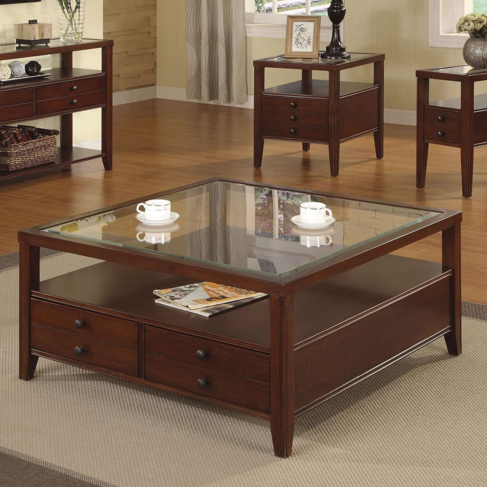 Most Popular Square Coffee Table With Storage Drawers Within Coffee Tables : Storage Tables With Baskets Bedroom Stunning (View 9 of 20)