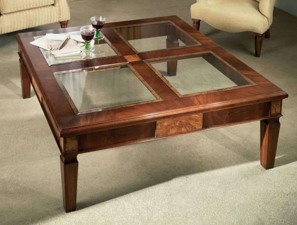 Most Popular Square Shaped Coffee Tables For Glass Top Coffee Table In Square Shape And Wooden Legs – The Glass (View 12 of 20)