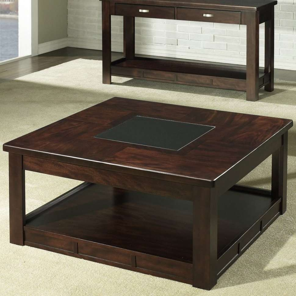 Most Popular Square Storage Coffee Tables Pertaining To Coffee Tables : Stunning Dark Brown Rustic Wood Square Coffee (View 9 of 20)