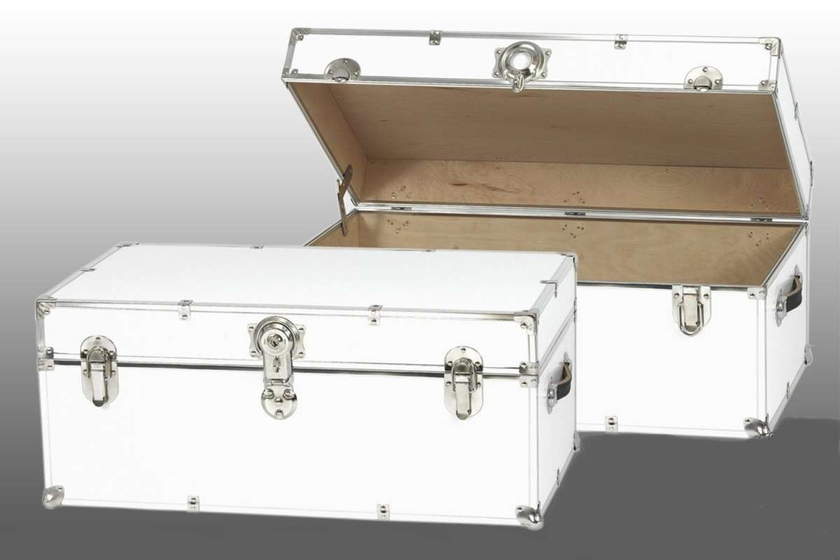 Most Popular Steamer Trunk Stainless Steel Coffee Tables Pertaining To Metal Steamer Trunk Coffee Table ~ Home Decorations : Appearance (View 5 of 20)