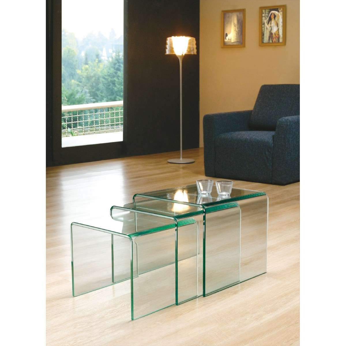 Most Popular Transparent Glass Coffee Tables Intended For Nest Of 3 Bent Clear Glass Side Coffee Tables – Transparent Three (View 14 of 20)