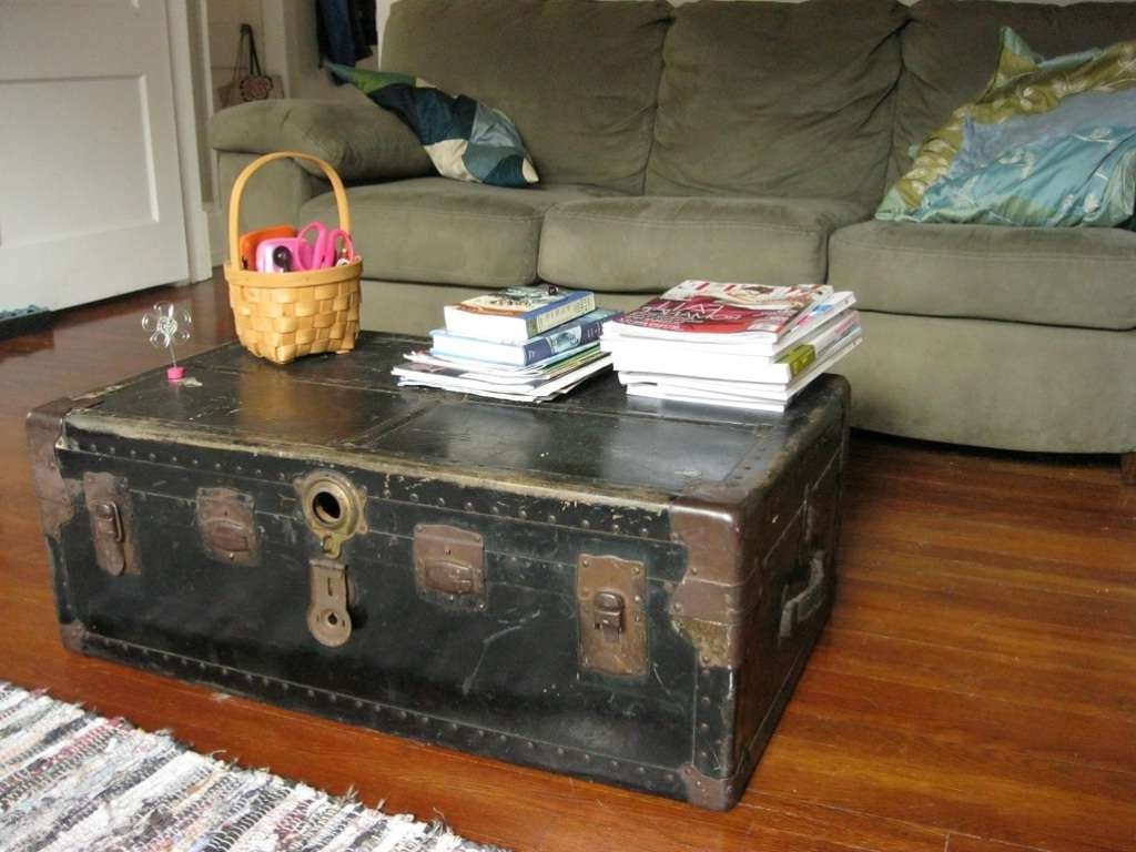Most Popular Trunks Coffee Tables Within Steamer Trunk Coffee Table With Glass Top : Beblincanto Tables (View 13 of 20)