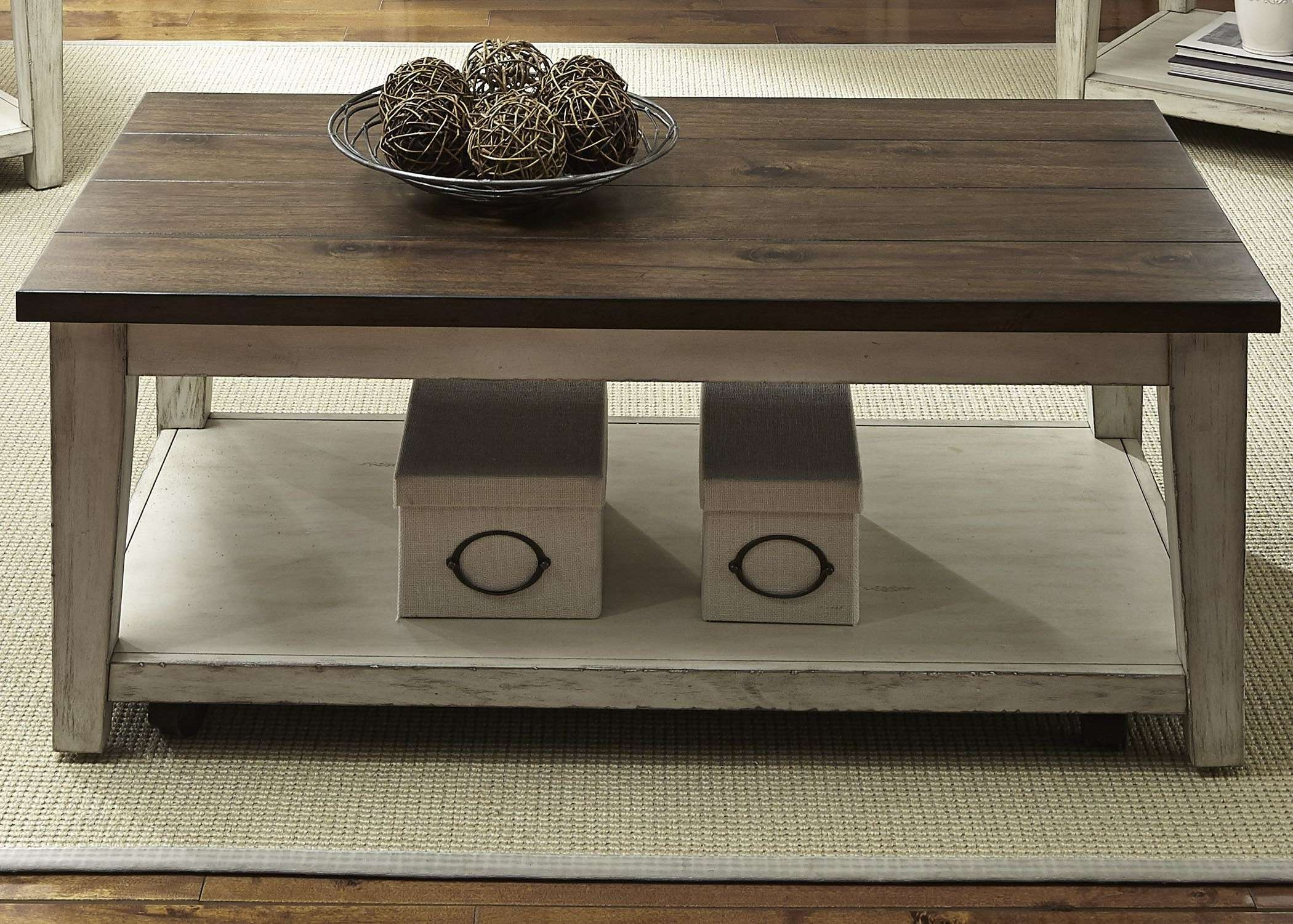 Most Popular White And Brown Coffee Tables With Antique White Brown Coffee Table (View 12 of 20)