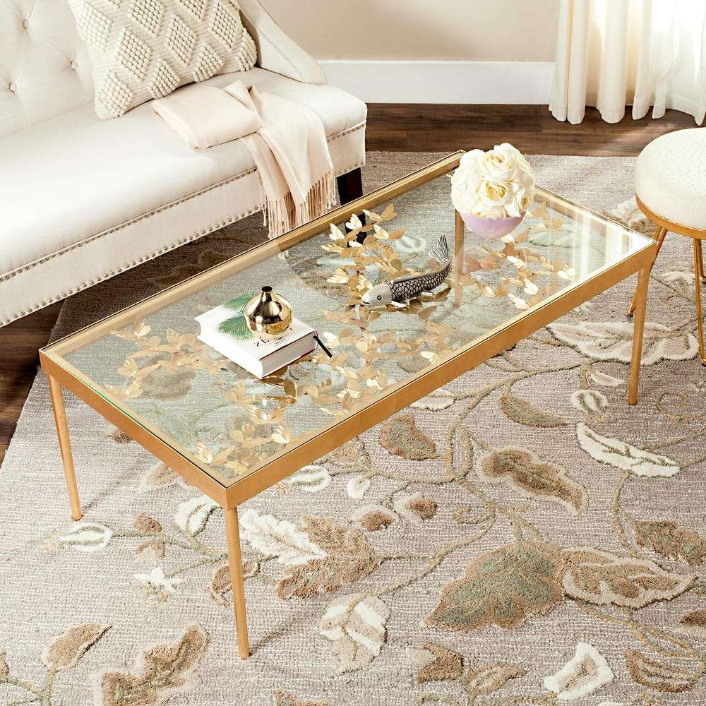 Most Recent Antique Glass Coffee Tables Throughout Safavieh Rosalia Glass/antique Gold Butterfly Coffee Table (View 14 of 20)