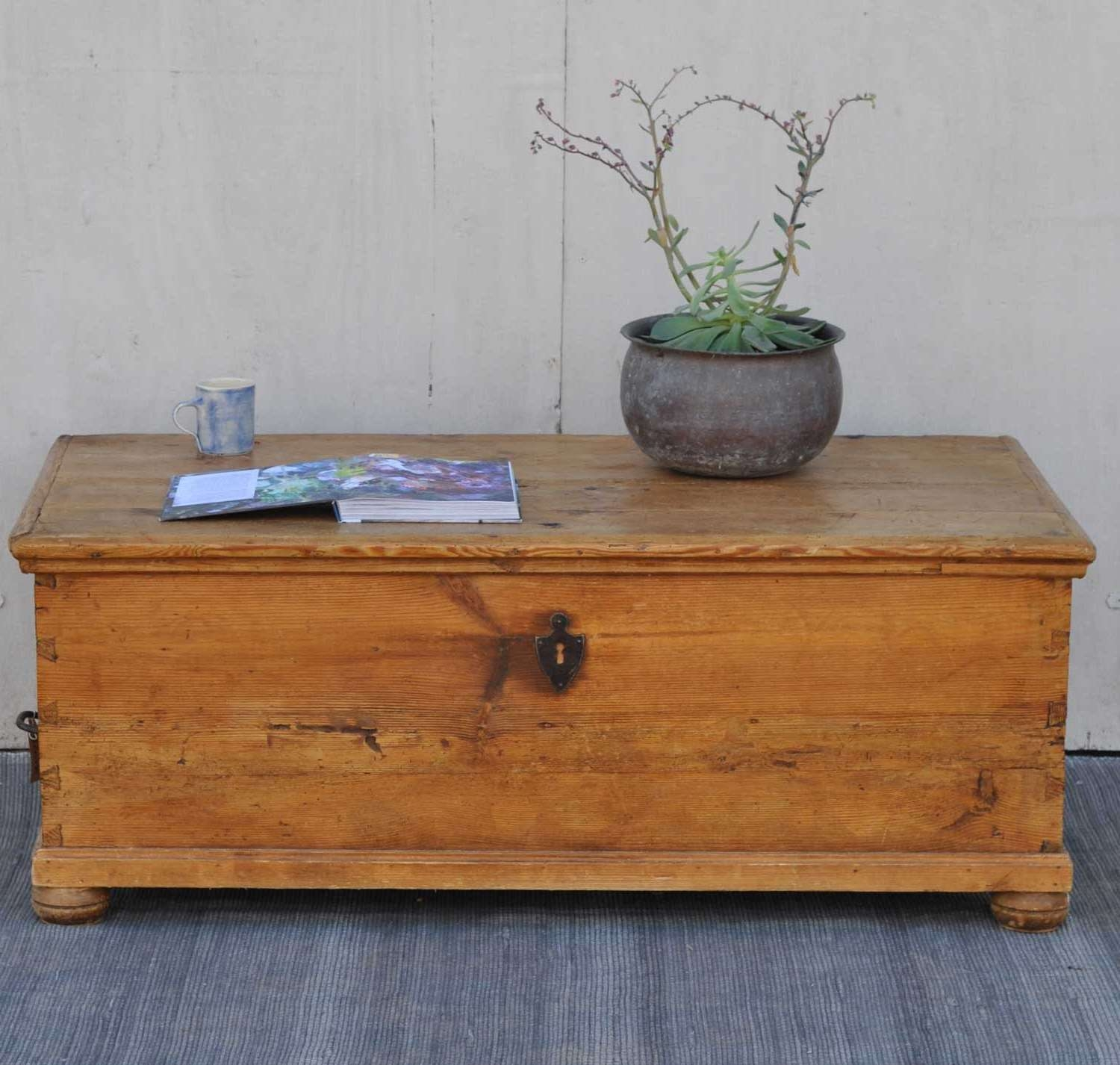 Most Recent Blanket Box Coffee Tables Intended For Antique Pine Blanket Box Linen Chest Coffee Table – Home Barn Vintage (View 13 of 20)
