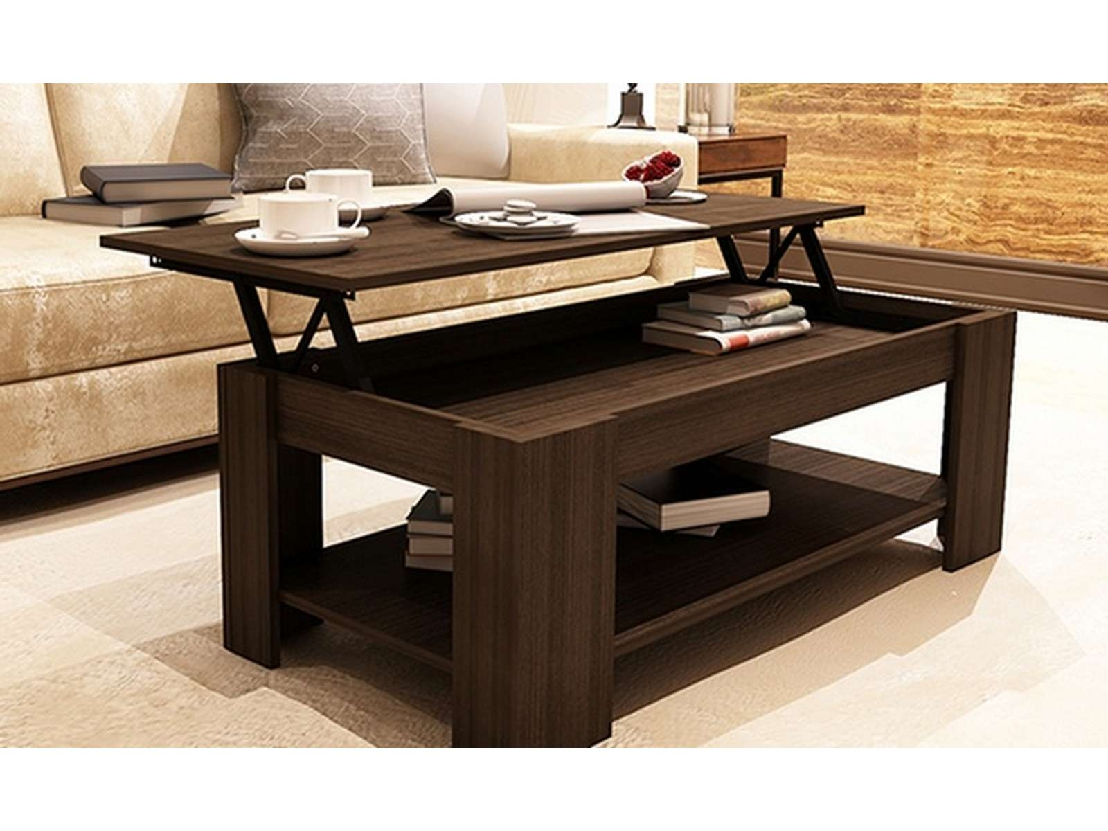 Most Recent Coffee Tables With Lift Top And Storage Throughout Coffee Tables : Essential Home Lift Top Storage Ottoman Solid Wood (View 14 of 20)