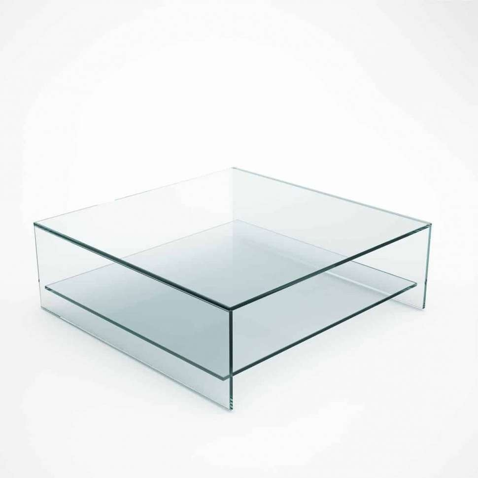 Most Recent Glass Coffee Tables With Shelf Within Coffee Tables : Judd Square Glass Coffee Table With Shelf Klarity (View 5 of 20)