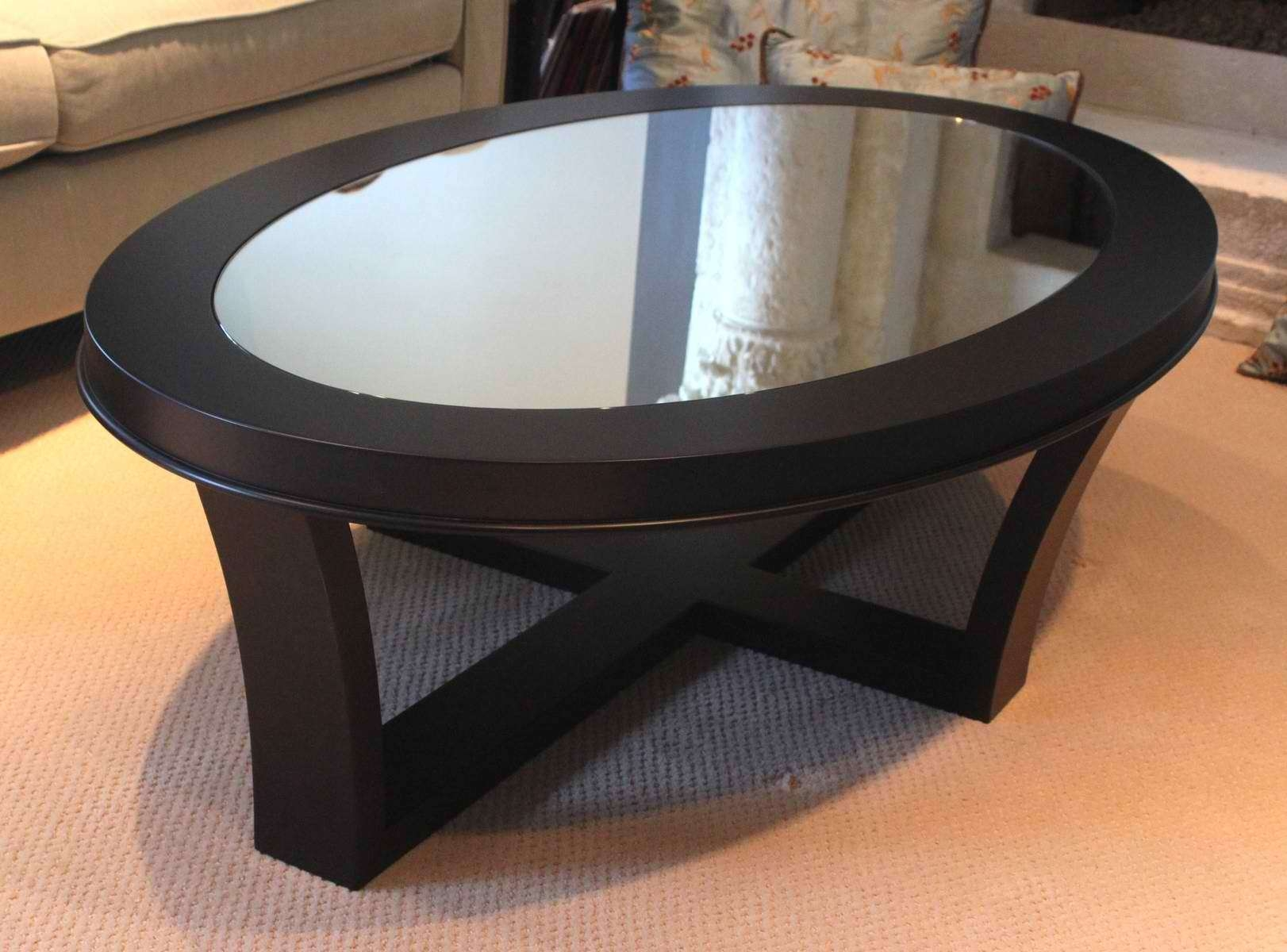 Most Recent Glass Top Storage Coffee Tables Within Coffee Tables : Mesmerizing Antique And Minimalist Oval Coffee (View 12 of 20)