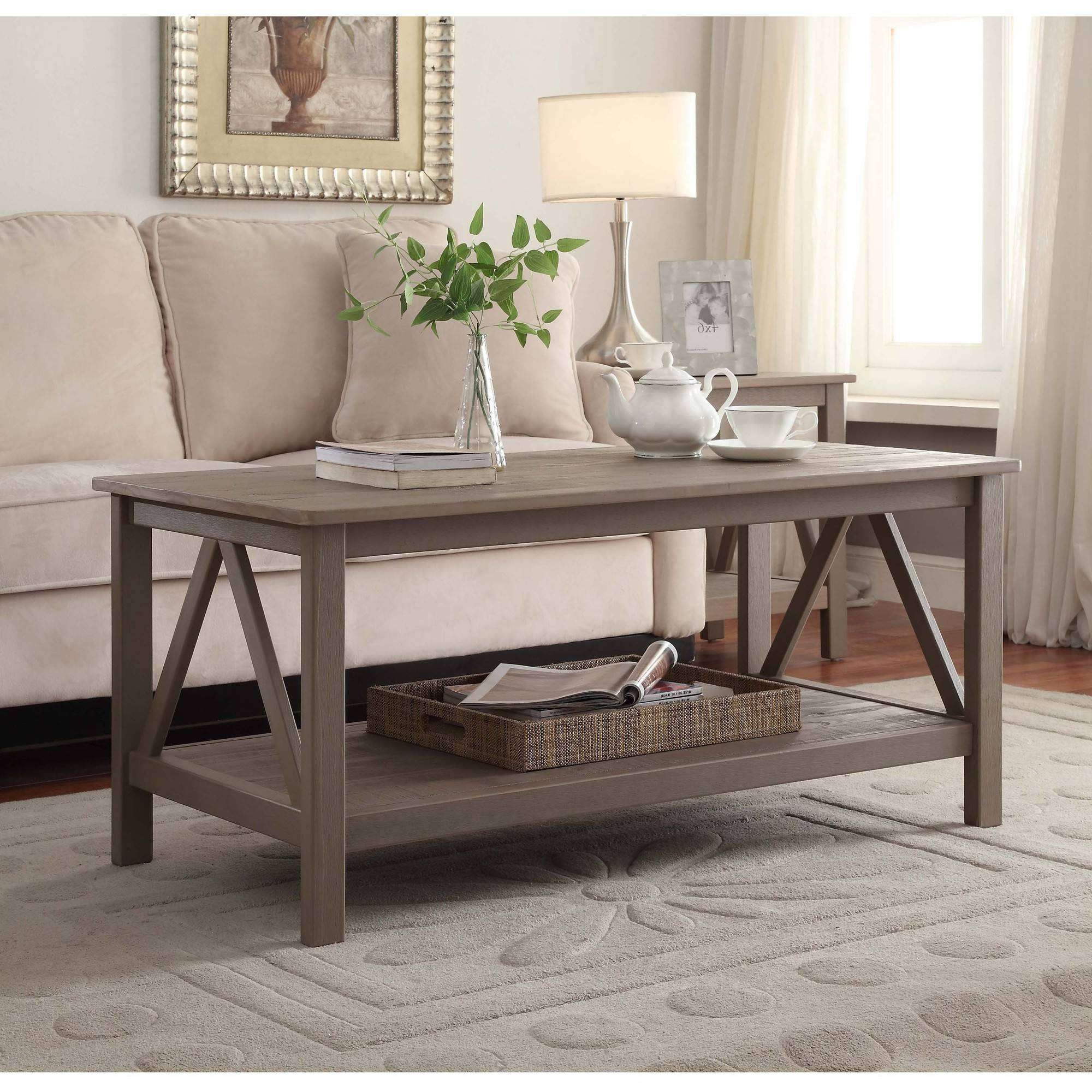 Most Recent Grey Coffee Tables With Regard To Linon Titian Coffee Table, Rustic Gray, 20 Inches Tall – Walmart (View 14 of 20)