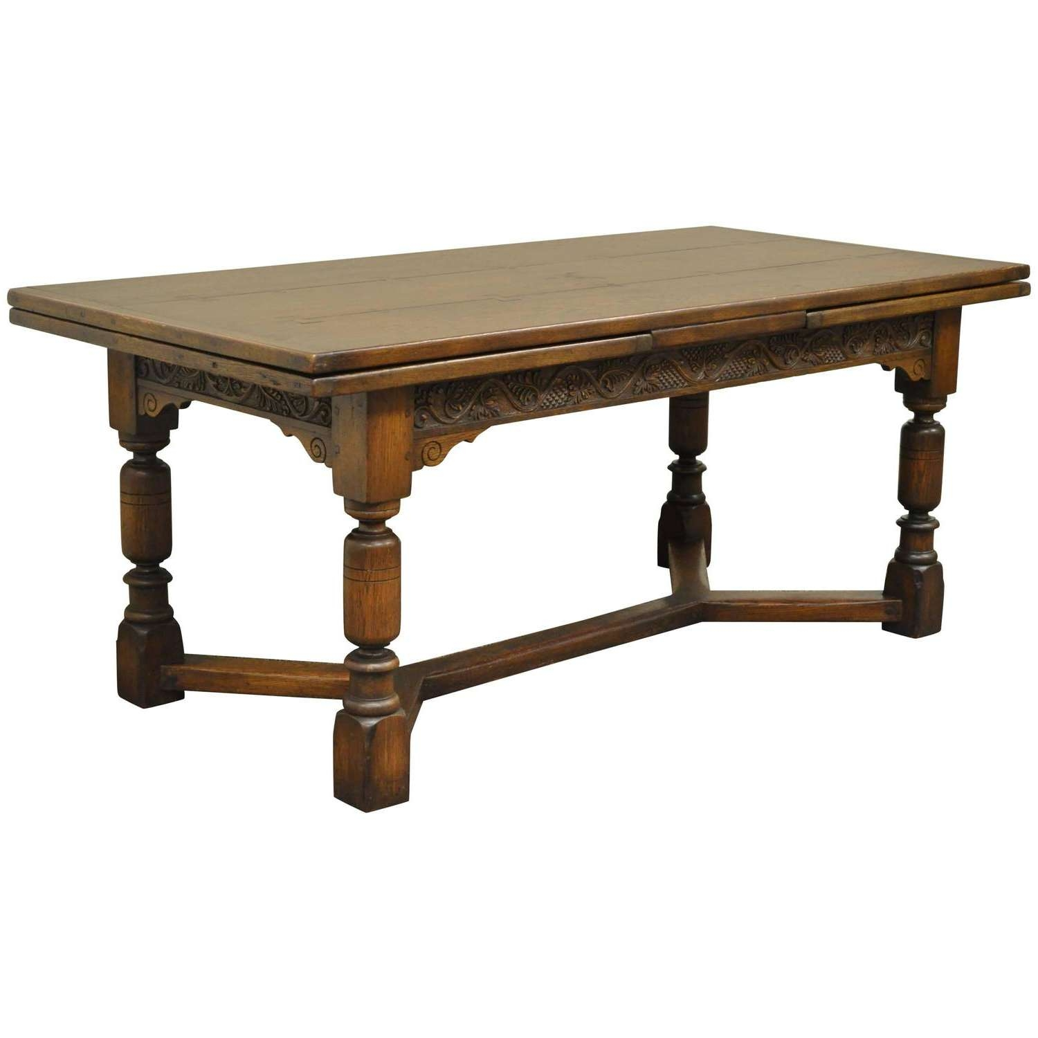 Most Recent Jacobean Coffee Tables Throughout 1930S Solid Carved Oak Jacobean Style Refectory Extension Plank (View 12 of 20)