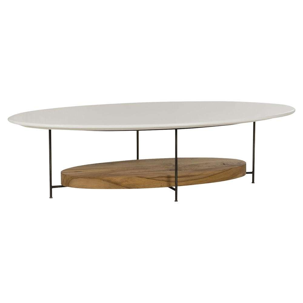 Most Recent Lacquer Coffee Tables Within Tagg Lodge White Lacquer Oval Oak Coffee Table (View 11 of 20)