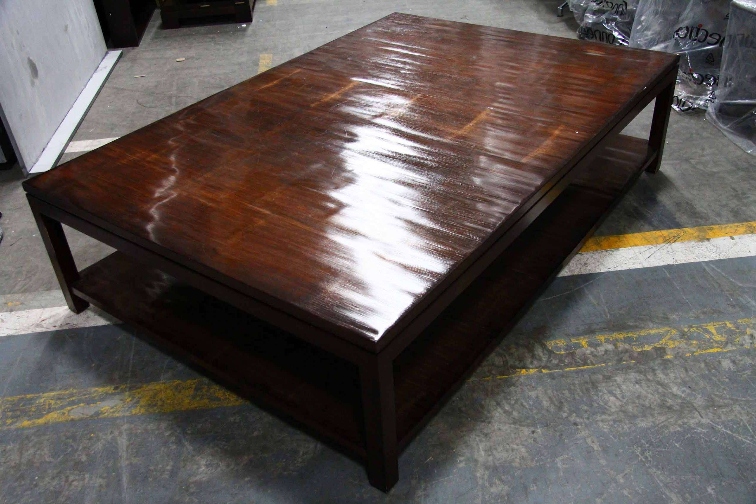Most Recent Large Low Wood Coffee Tables Within Coffee Table, Table Inspiring Square Coffee Table Leather Ottoman (View 13 of 20)