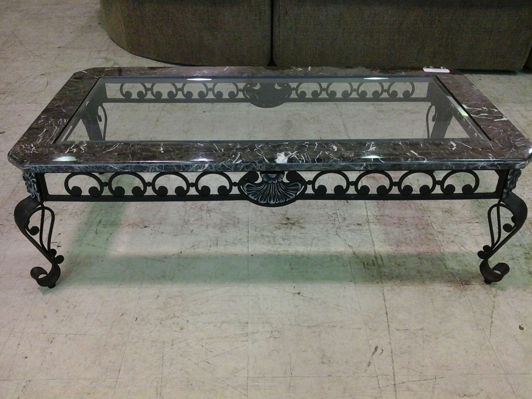 Most Recent Marble And Glass Coffee Table Intended For Black Wrought Iron Coffee Table With Black Marble And Glass Top (View 10 of 20)