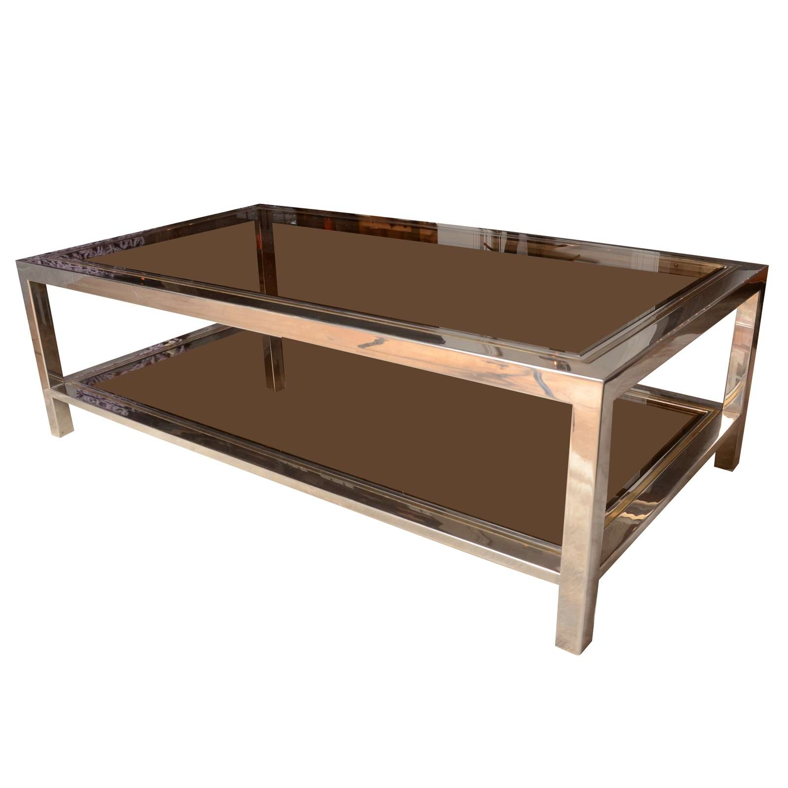 Most Recent Metal Coffee Tables With Glass Top Inside Decorations : Modern Glass Top Coffee Tables With Metal Base (View 2 of 20)