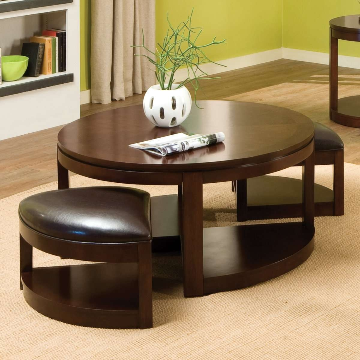 Most Recent Round Coffee Tables With Storages Intended For Round Coffee Table: Captivating Round Ottoman Coffee Table With (View 12 of 20)