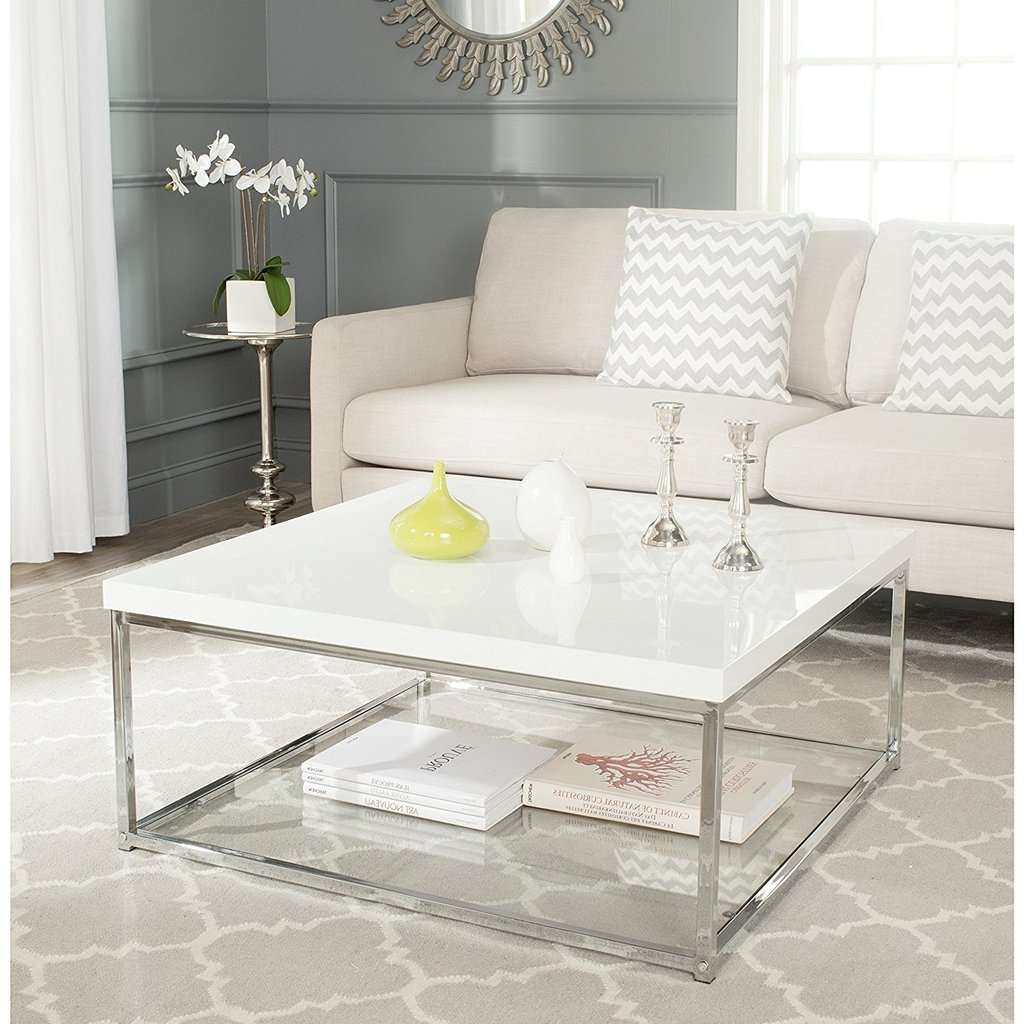 Most Recent Safavieh Coffee Tables Pertaining To Safavieh Home Collection Malone White And Chrome Coffee Table (View 8 of 20)