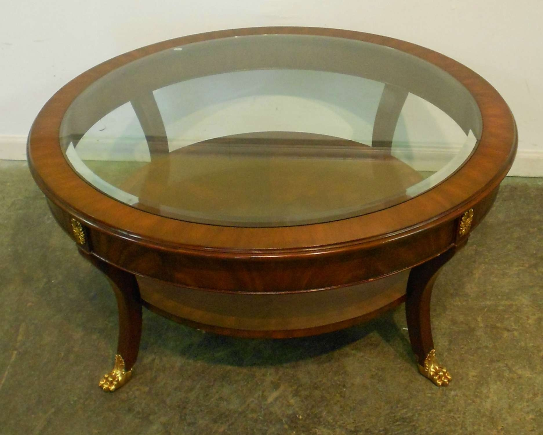 Most Recent Small Circle Coffee Tables Intended For Small Round Mahogany Coffee Table With Glass Top Brass Legs And (View 12 of 20)