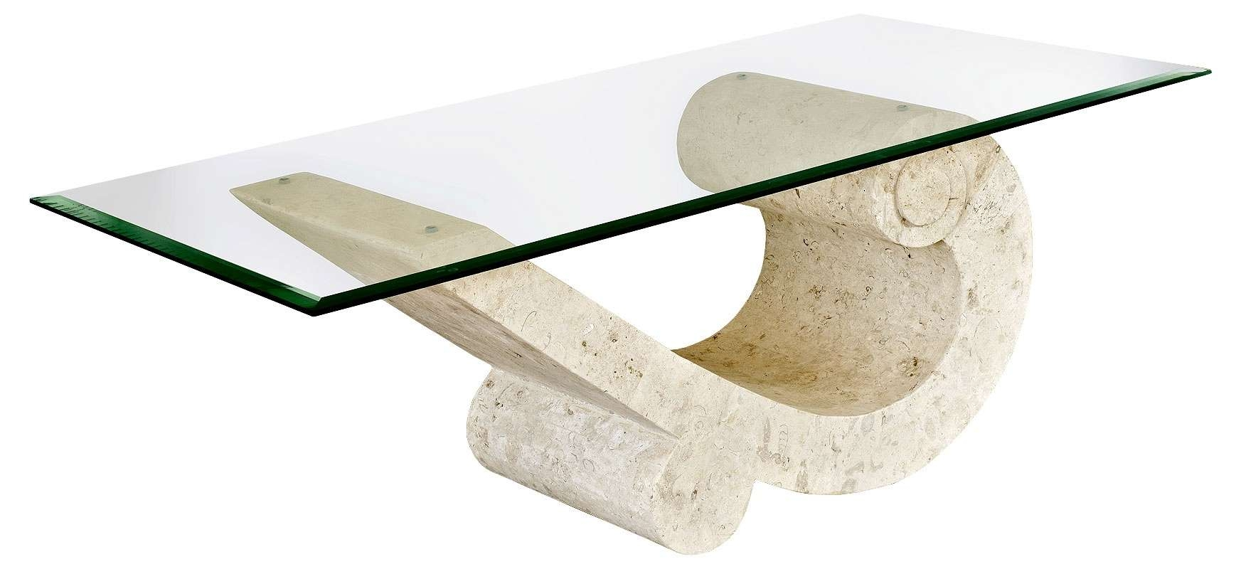 Most Recent Stone And Glass Coffee Tables In Fossil Stone And Glass Coffee Table Modern Minimalist Console (View 14 of 20)