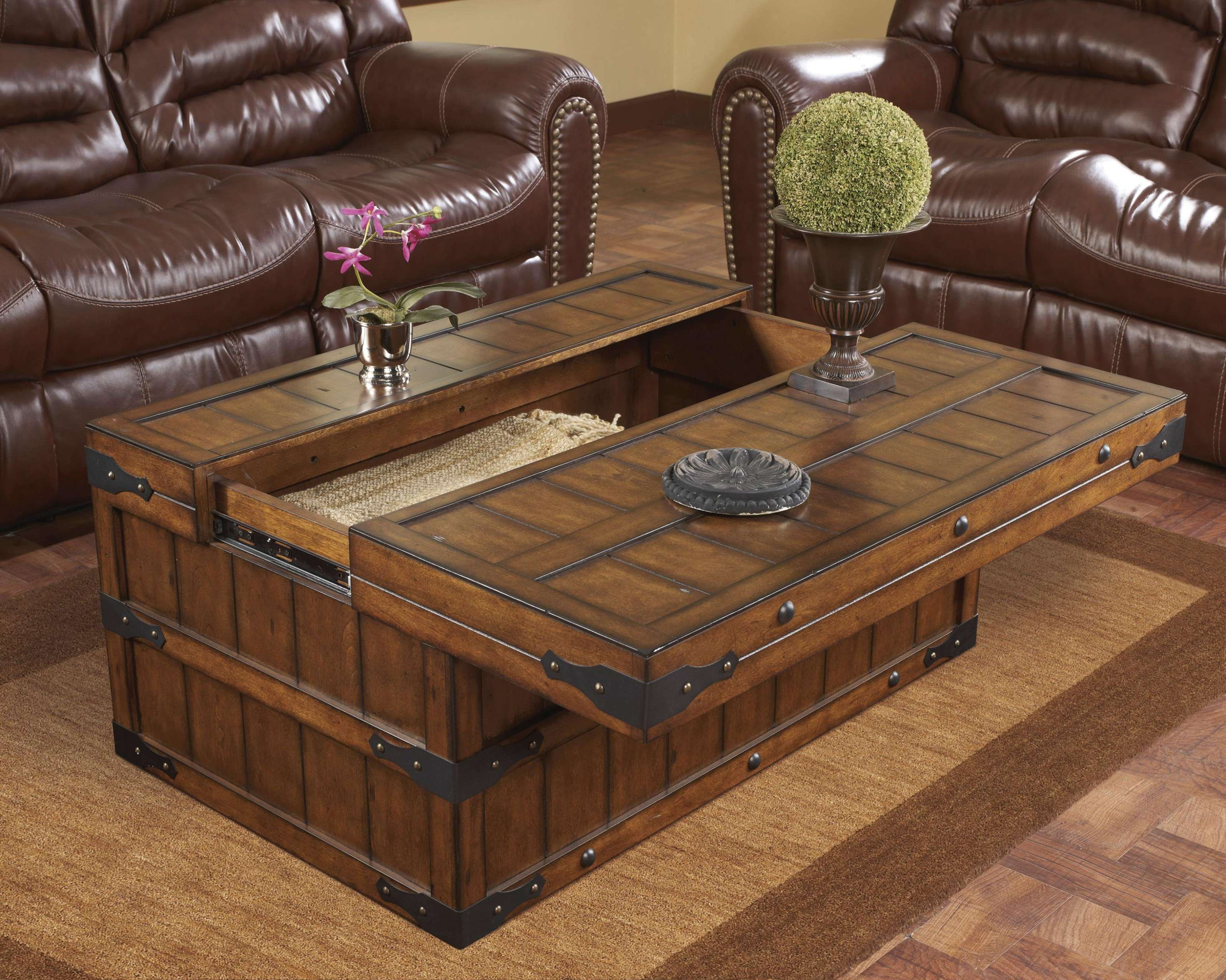 Most Recent Storage Coffee Tables Within Coffee Tables : Rustic Storage Trunk Coffee Table Trunks And (View 13 of 20)