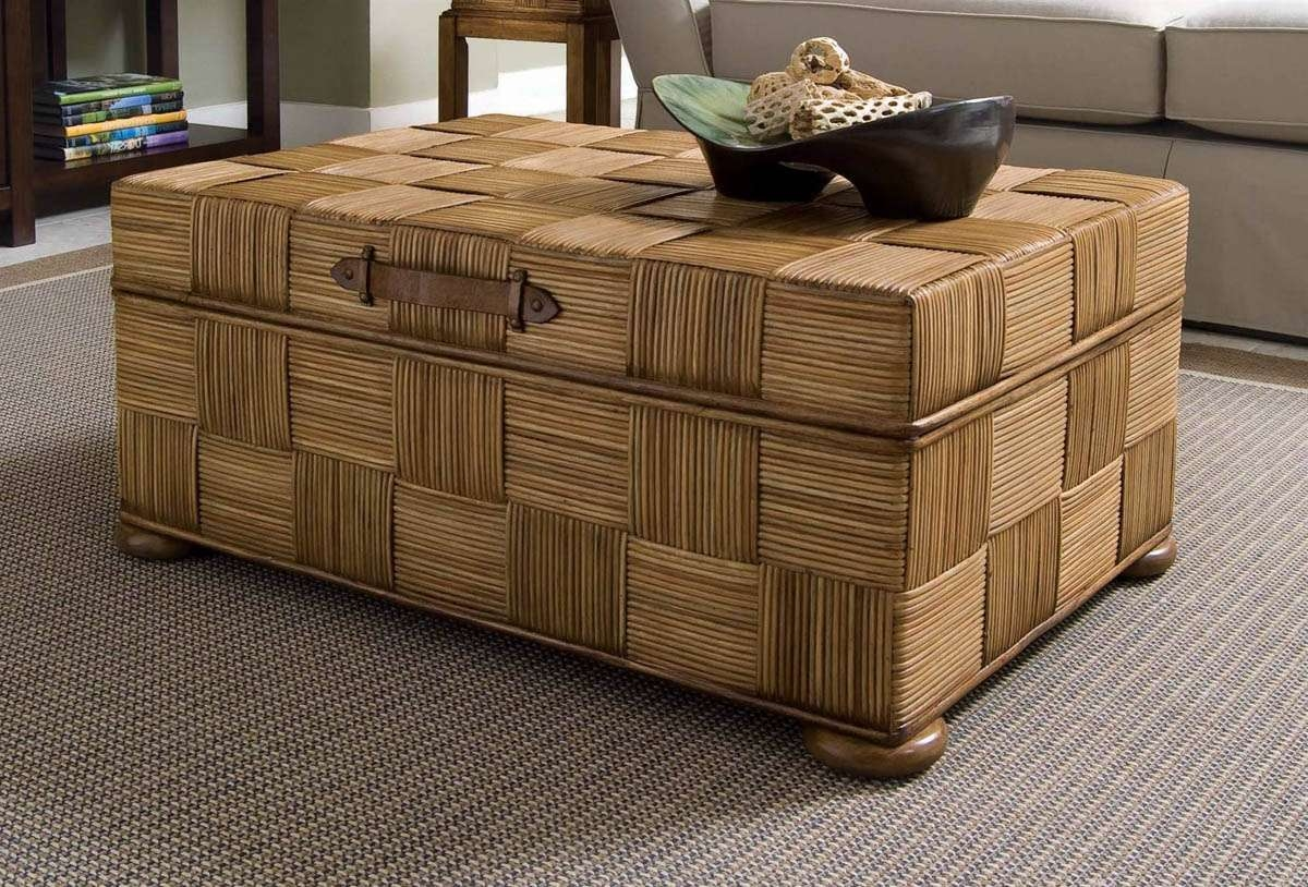 Most Recent Storage Trunk Coffee Tables Regarding Ottoman Coffe Table, Wicker Storage Trunk Coffee Table Wicker (View 11 of 20)