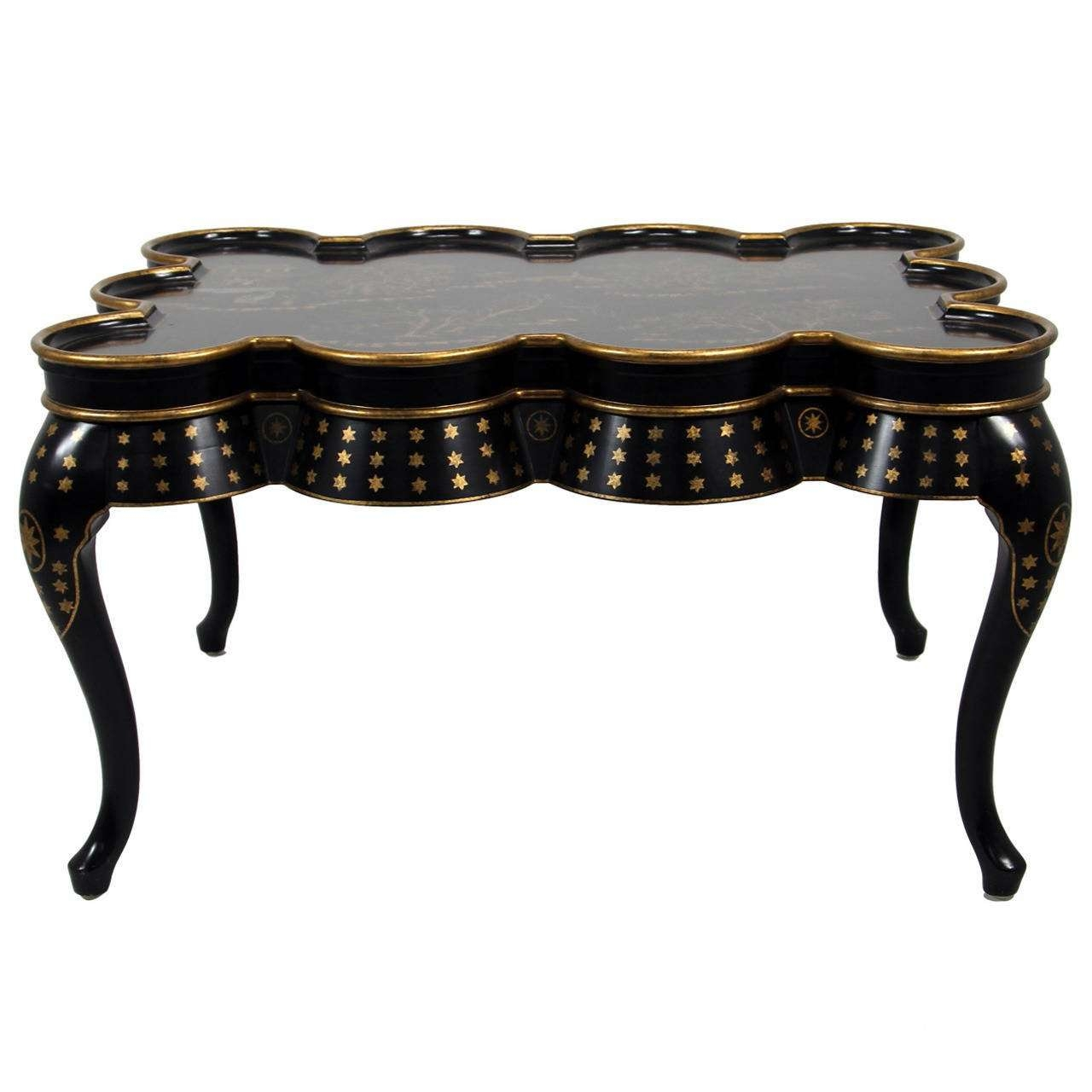 Most Recently Released Asian Coffee Tables For Chinoiserie Hand Painted Black Lacquer Coffee Table With Oriental (View 13 of 20)