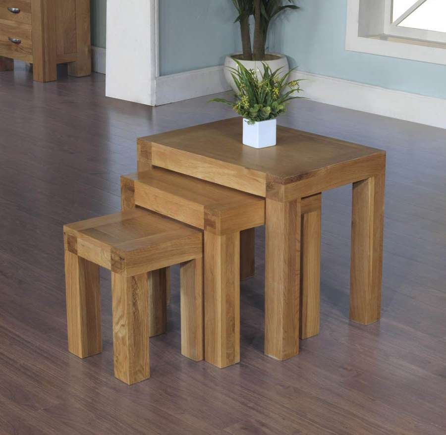 Most Recently Released Chunky Oak Coffee Tables For Santana Blonde Oak Nest Of Tables (View 18 of 20)