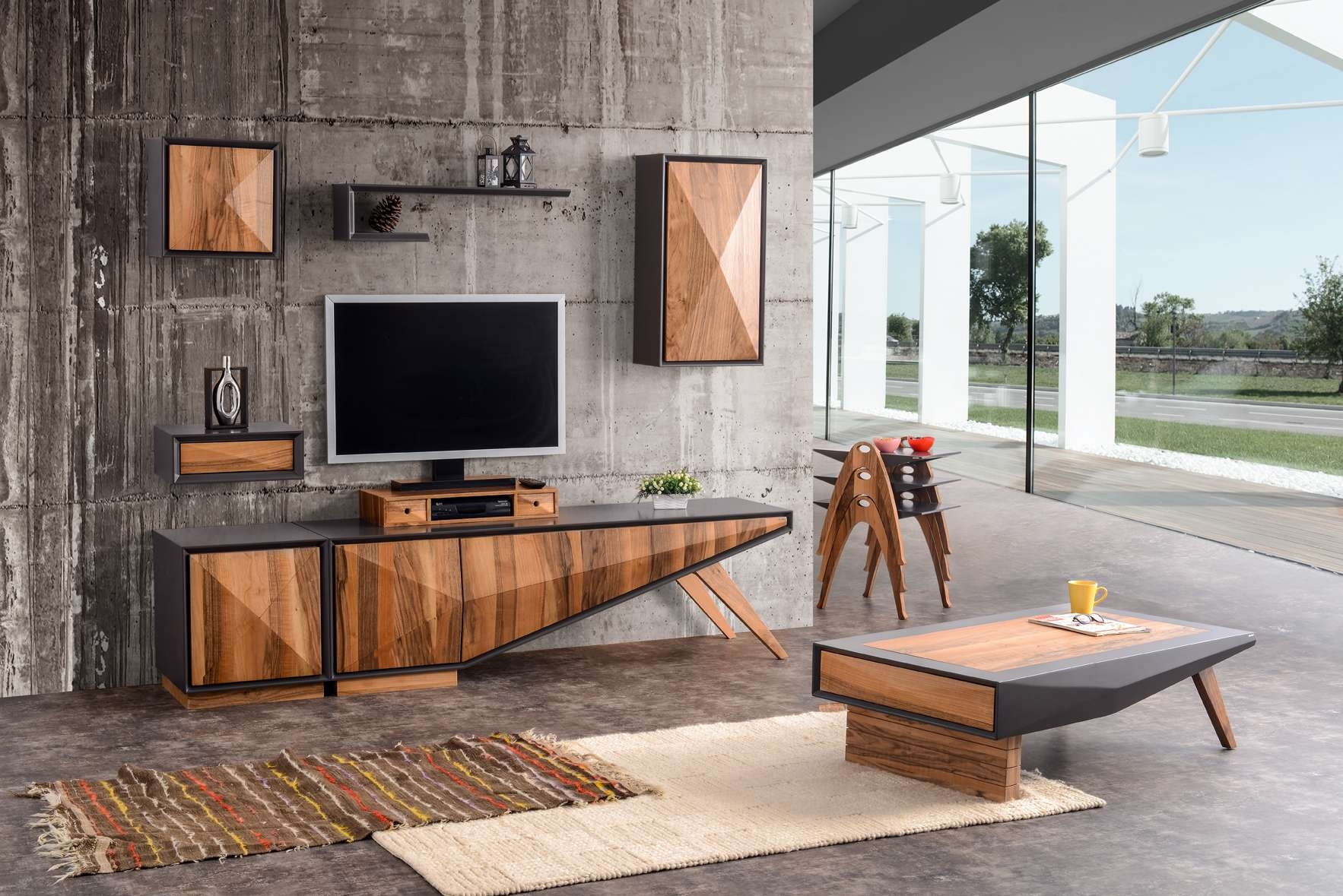 Most Recently Released Coffee Table And Tv Unit Sets With Regard To Different Entertainment Center Set – 8 Pcs – Walnuthome (View 17 of 20)