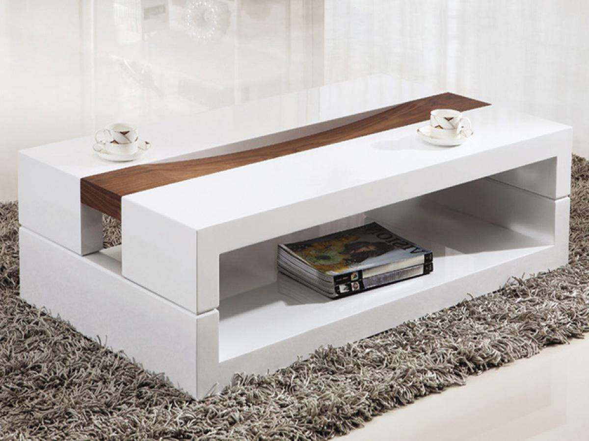 Most Recently Released Contemporary Coffee Tables Pertaining To Furniture: Contemporary White Square Coffee Tables On Grey Fur Rug (View 2 of 20)