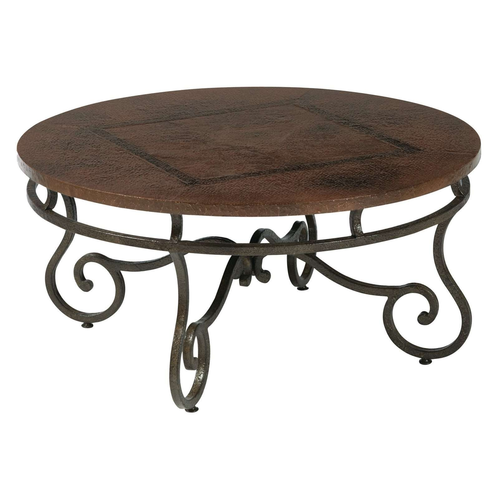 Most Recently Released Glass And Black Metal Coffee Table Within Old And Vintage Round Coffee Table With Wood Top Made From (View 19 of 20)