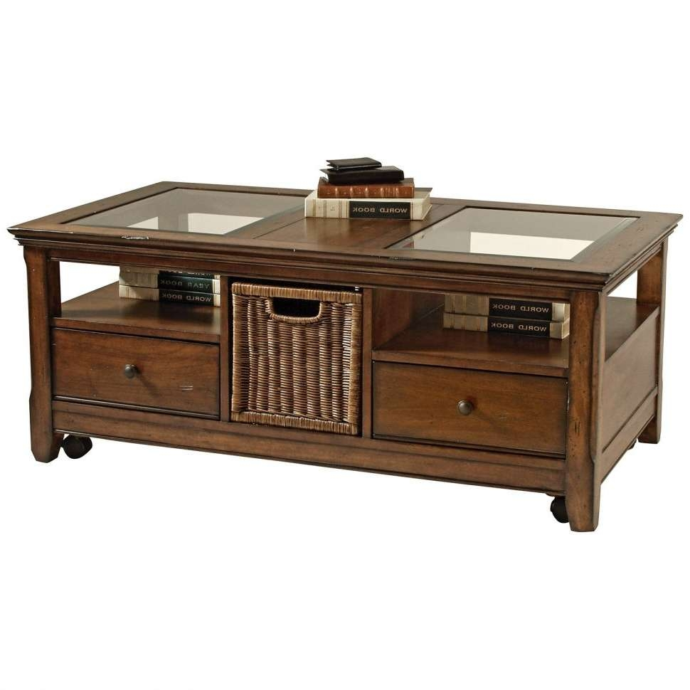 Most Recently Released Glass Top Storage Coffee Tables With Coffee Tables : Furniture Ideas Glass Top Coffee Table With Two (View 5 of 20)