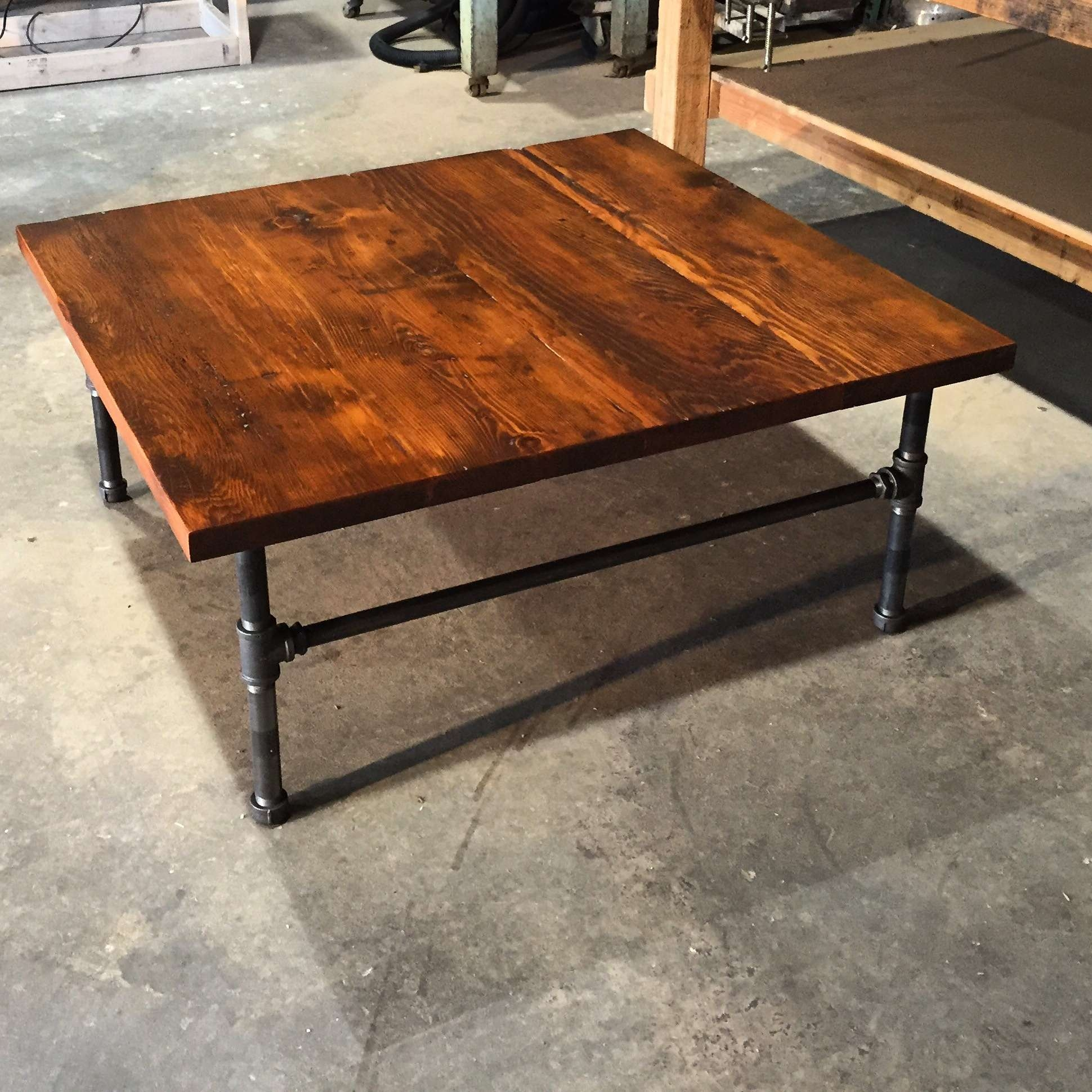 Most Recently Released Industrial Style Coffee Tables Regarding Teak Square Rustic Industrial Style Varnished Wood Restoration (View 14 of 20)