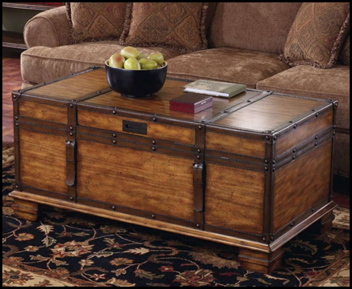 Most Recently Released Large Trunk Coffee Tables With Coffee Table : Dark Wood Coffee Table Chest Vintage Wooden Trunk (View 14 of 20)