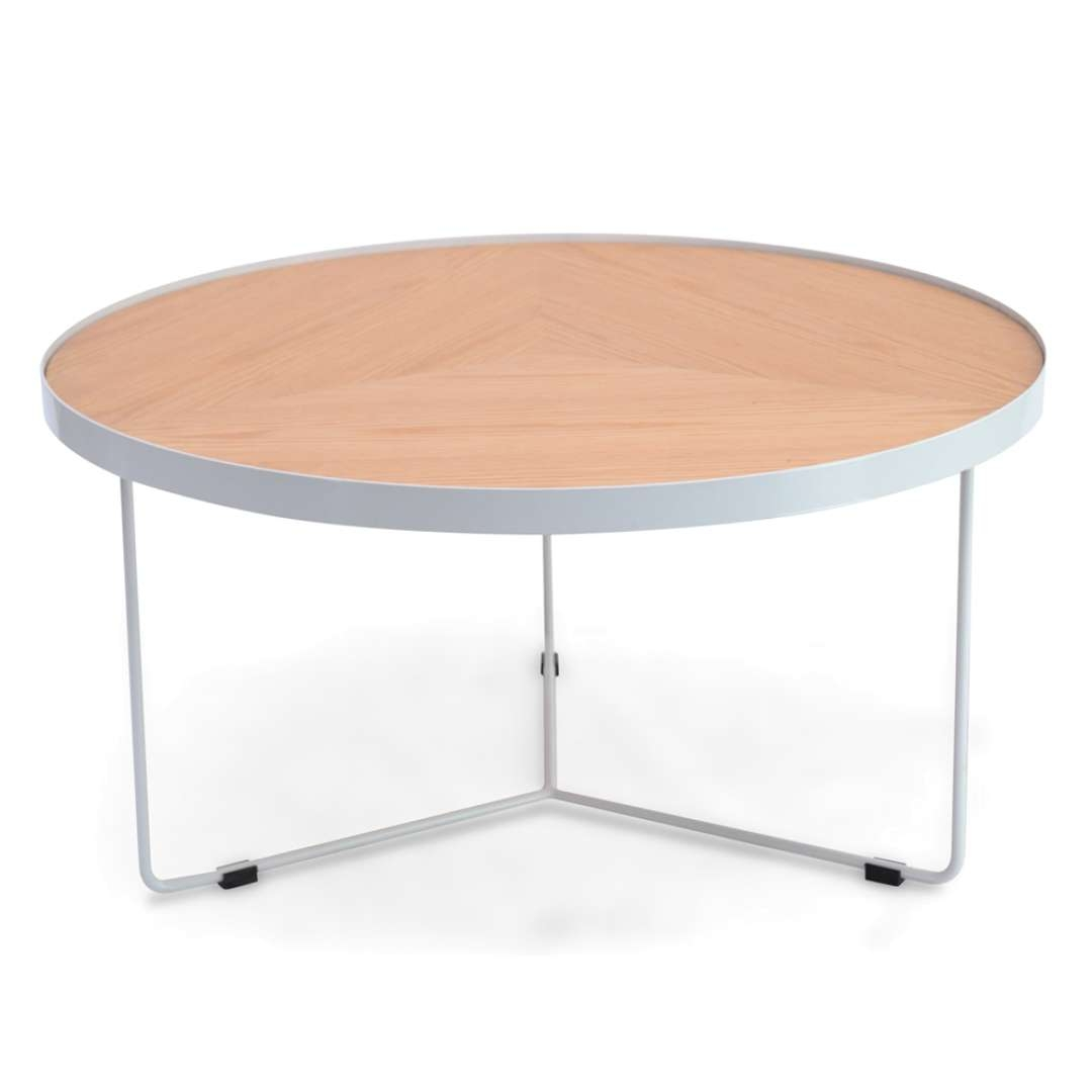 Most Recently Released Luna Coffee Tables Regarding Luna 90x45cm Round Coffee Table – Natural Top – White Frame (View 4 of 20)