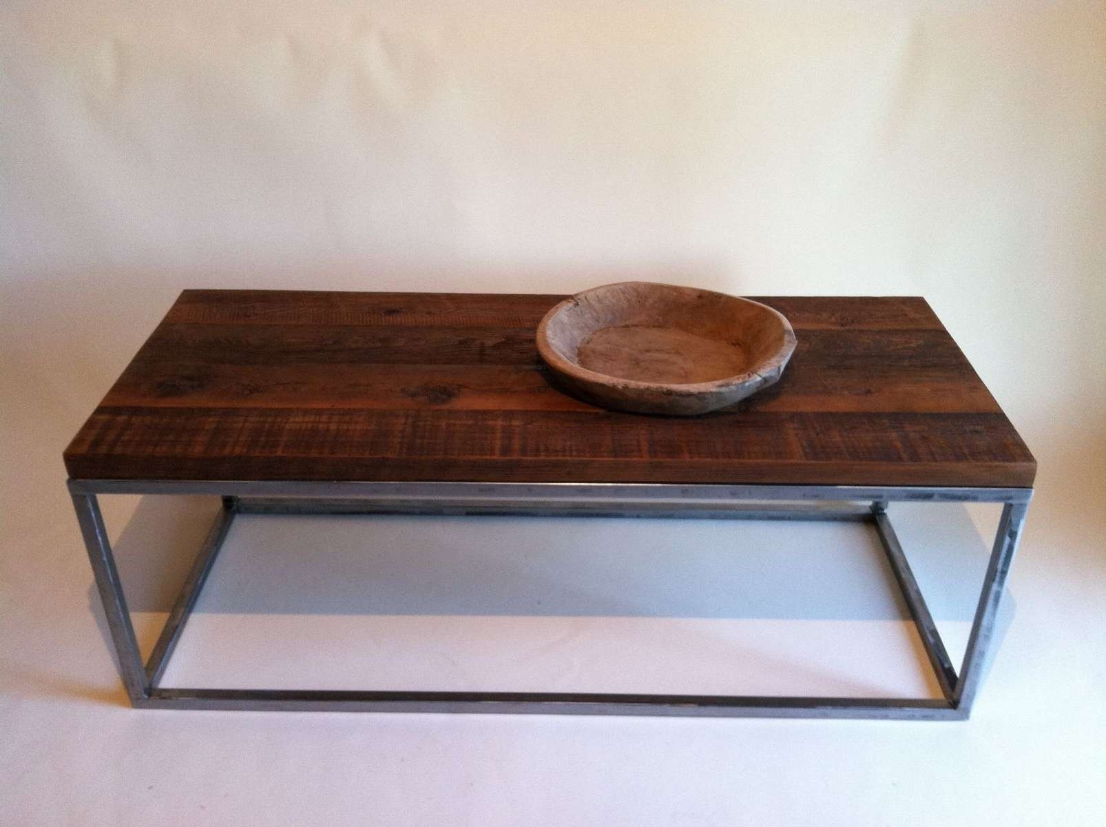 Most Recently Released Metal And Wood Coffee Tables Throughout Handmade Reclaimed Wood Coffee Tables With Rectagular Polished (View 13 of 20)