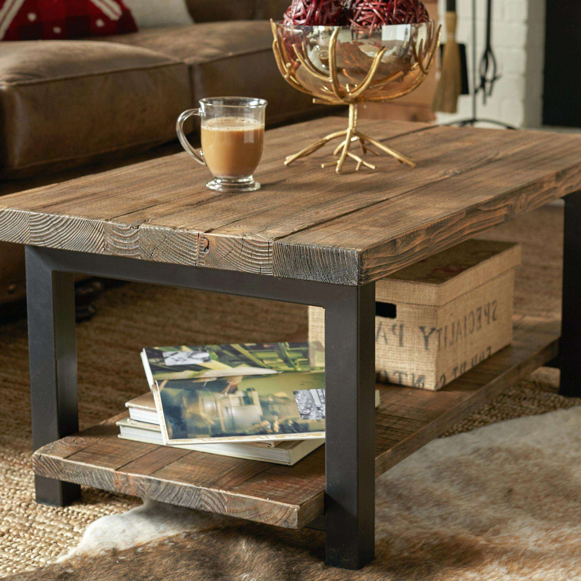 Most Recently Released Metal And Wood Coffee Tables With Regard To Coffee Tables : Rustic Chic Coffee Table Industrial Furniture On (View 14 of 20)