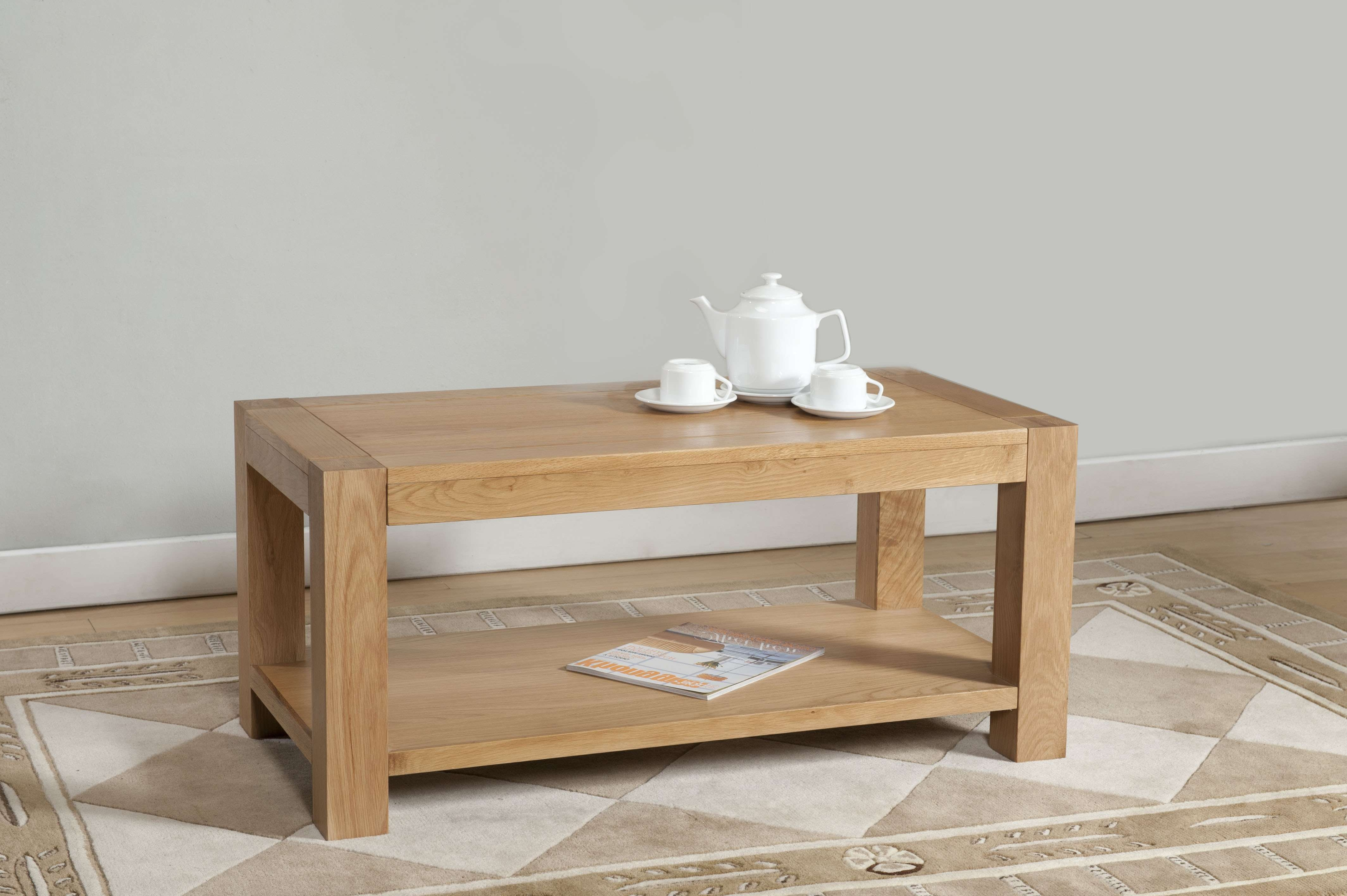 Most Recently Released Oak Coffee Tables With Shelf Pertaining To Milano Oak Coffee Table With Shelf (View 12 of 20)
