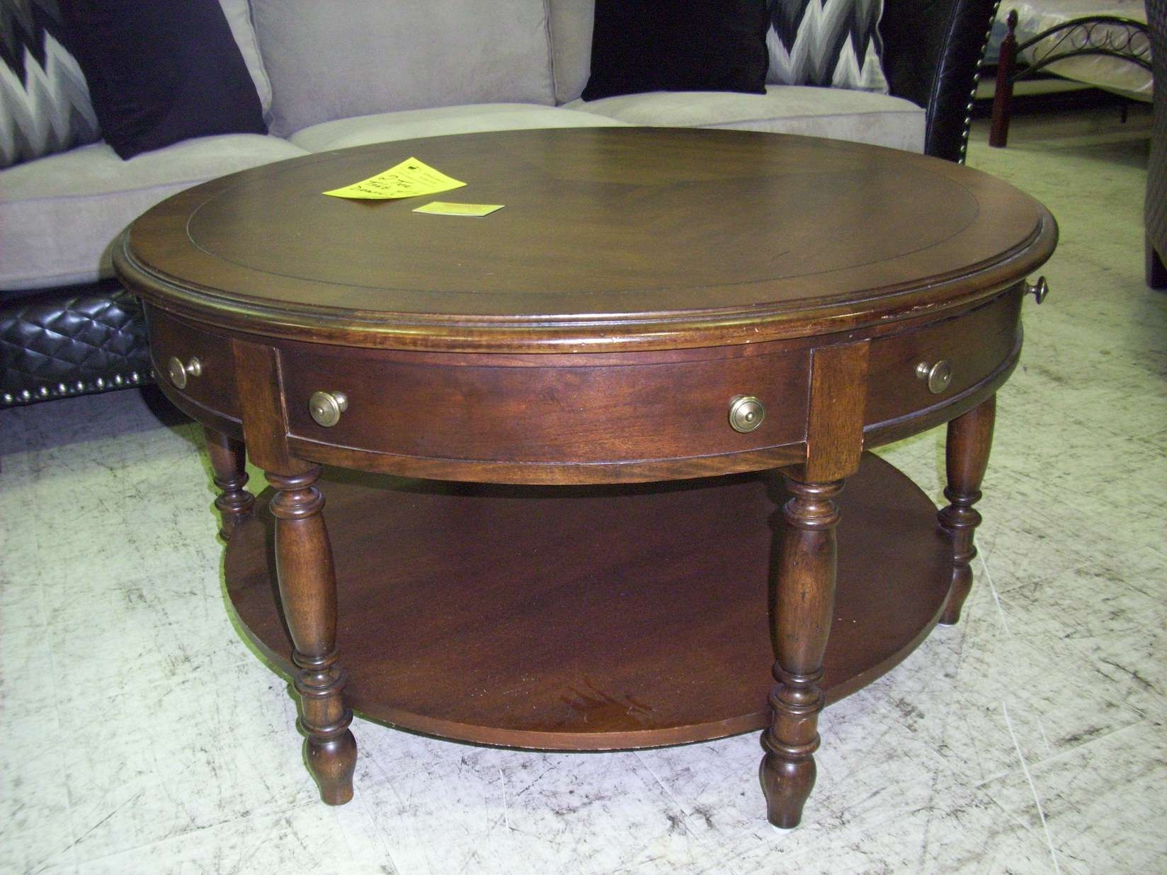 Most Recently Released Round Coffee Tables With Drawers Regarding Round Coffee Tables With Glass Top Wood Coffee Table With Drawer (View 2 of 20)