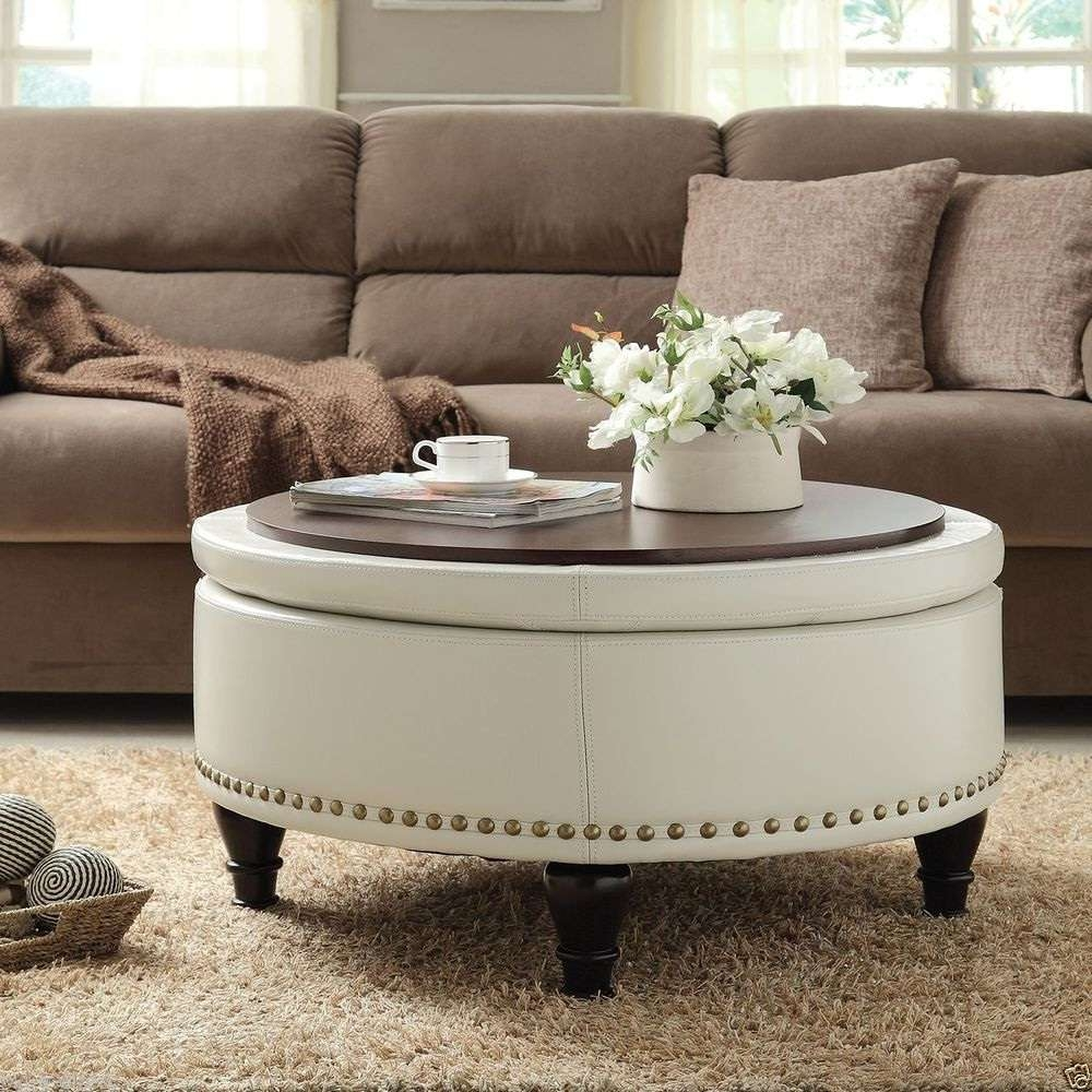 Most Recently Released Round Upholstered Coffee Tables Intended For Coffee Tables : Dazzling Storage Ottoman Coffee Table Target Ideas (View 7 of 20)
