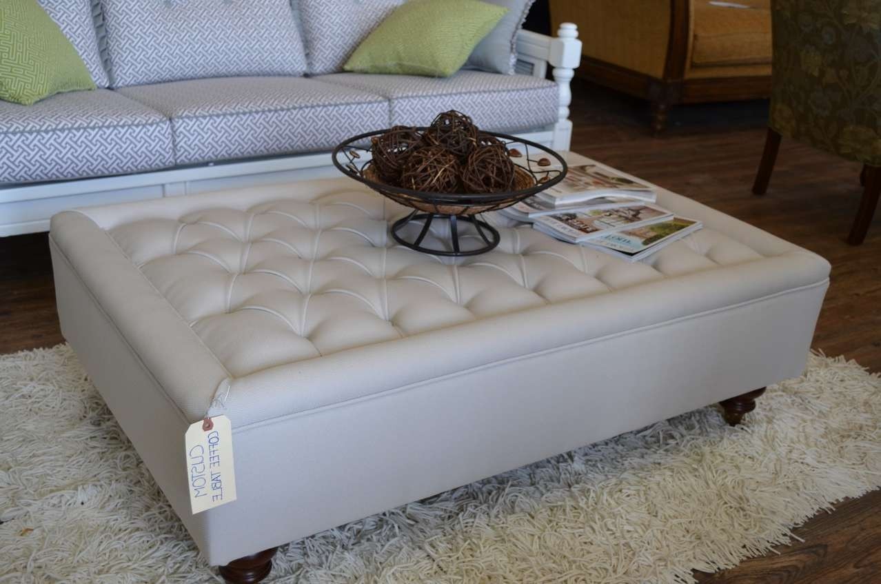 Most Recently Released Round Upholstered Coffee Tables Regarding Square Tufted Ottoman Coffee Table Coveredwhite Leather (View 16 of 20)
