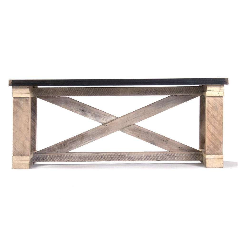 Most Recently Released Solid Oak Coffee Tables Throughout Valerya Zinc Top Chunky Rustic Solid Wood Coffee Table (View 9 of 20)