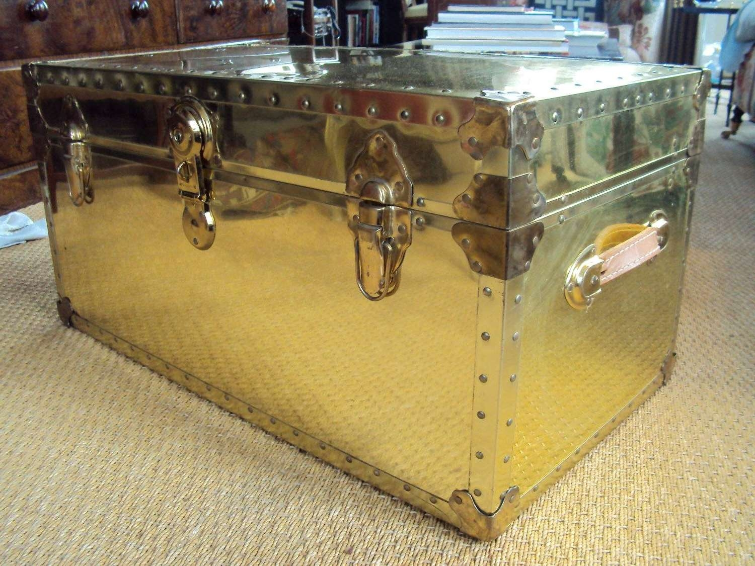 Most Recently Released Steamer Trunk Stainless Steel Coffee Tables Throughout Uncategorized : Metal Trunk Coffee Table Excellent For Amazing The (View 9 of 20)