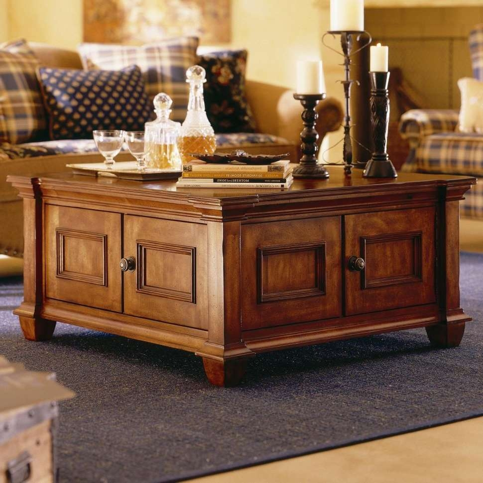 Most Recently Released Wooden Storage Coffee Tables Inside Coffee Tables : Remarkable Brown Square Rustic Wooden Storage (View 9 of 20)