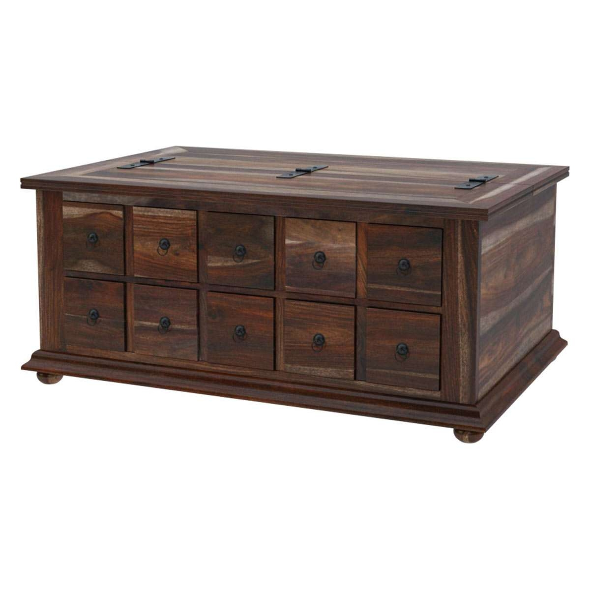 Most Recently Released Wooden Storage Coffee Tables Pertaining To Wood Storage Coffee Table With 10 Drawers (View 11 of 20)
